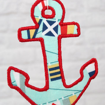 Anchor Christmas Ornament Handmade Nautical Flags Ornament Lobster fabric on the back