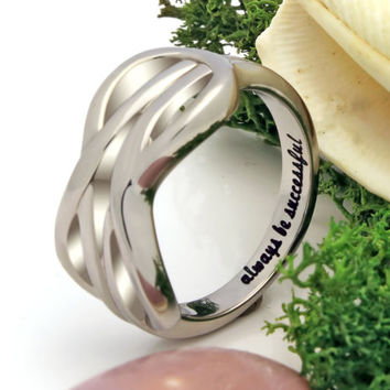 "Double Infinity Ring ""Always Be Successful"" Secret Message Ring"