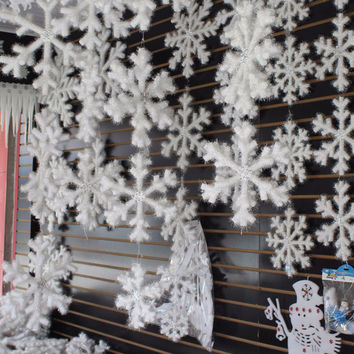 30pcs White Snowflake Christmas Ornaments Holiday Festival Party Home Decor