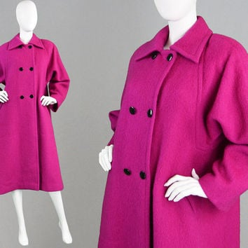 Vintage 80s Pink Swing Coat WINDSMOOR Coat Wool & Mohair Coat Double Breasted Trapeze Coat Womens Peacoat Pink Winter Coat Made in England
