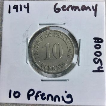 1914 German Empire 10 Pfennig Coin A0054