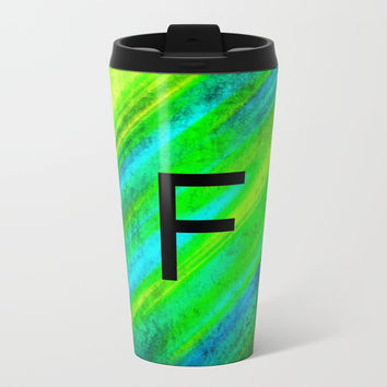 LETTER F Metal Travel Mug by Jessica Ivy