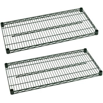 "Commercial Heavy Duty Walk-In Box Green Epoxy Wire Shelves 14"" x 36"" (Pack of 2)"