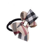 Plaid Hair Rope fashion Children Elastic HairBands Rubber Girls Headwear Women Hair Accessories  Bowknot Scrunchy