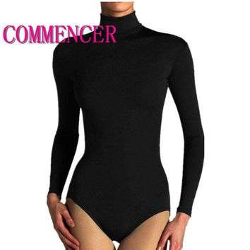 commencer Thin Section Ladies Bodysuit Polo Turtle Neck Long Sleeve Stretch Leotard Top Women Leotard Dance Clothing  0015