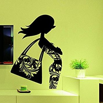 Wall Decal Vinyl Sticker Decals Art Decor Design Fashion Girl Glasses Bag Shoes Dress Beauty Damask Pattern Voque Bedroom Style(r578)