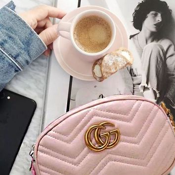 Gucci Pink Fashion Women Leather Satchel Shoulder Bag Crossbody