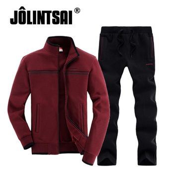 2017 New Autumn Korean Casual Trend Sporting Suit Men Solid Color Stand Collar Zipper Hoodies+Pant Two Piece Set Tracksuit