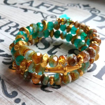 Czech Glass Wrap Bracelet Bohemian Jewelry Turquoise Teal Gold Brown Tassel Bracelet