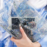 **Glitter Gel Clutch Bag by Jaded London