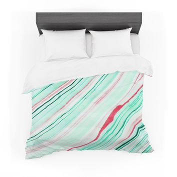 """83 Oranges """"Lines"""" Green Magenta Mixed Media Featherweight Duvet Cover"""