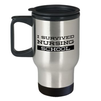 Nursing Travel Mug Gifts - I Survived Nursing School Stainless Steel Insulated Travel Coffee Cup with Lid