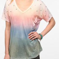 One-Of-A-Kind Rainbow Rhinestone V-Neck DIY Tee