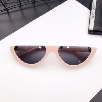 Eyecandy Half Frame Sunglasses - Pink/black