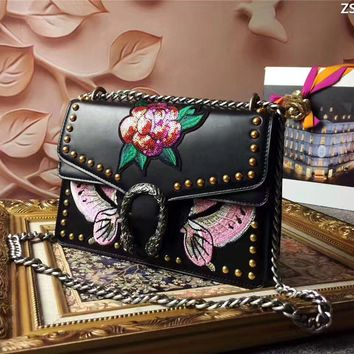 Gucci Women's Peony Embroidery Leather Chain Shoulder Bag #35051 - Best Deal Online
