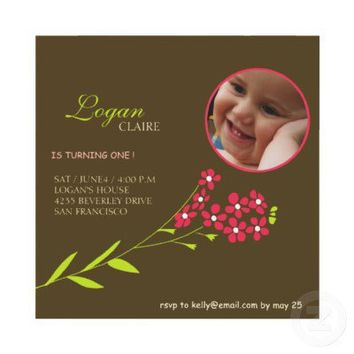 Forget Me Nots -Baby girl Birthday party cards Announcement from Zazzle.com
