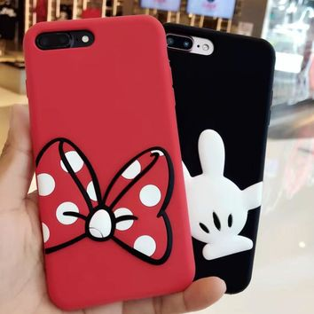 Fashion For iPhone X Case Cute Minnie Bowknot Coque For iPhone 6 6s 7 8 plus Mickey Hand Case Cover Women Girl Silica gel Shell
