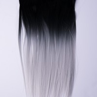 Ombré Black > Silver Dip Dyed 7pcs Straight Clip-In Hair Extensions