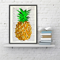 Pineapple Wall art, giclee art print Wall art Hipster pineapple- Book print Pineapple original artwork Printed on Vintage Dictionary page