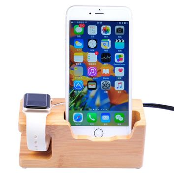 Charging Station Bamboo Wood Multi-Port USB Smartphones Apple Watch