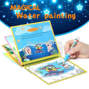 Magical water painting drawing book with pen,educational learning colorful cartoon figure drawing picture reusable graffiti book