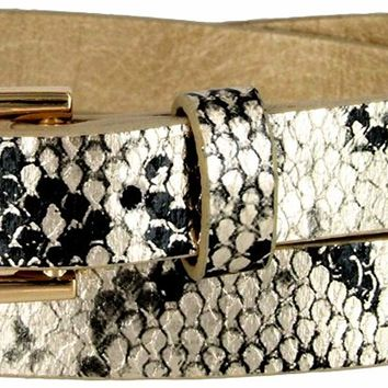 Women's Skinny Snakeskin Embossed Leather Casual Dress Belt with Buckle