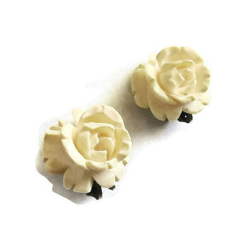 Vintage Hand Carved Bone Ivory Colored Rose Flower Earrings