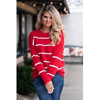 Twisted Peppermint Striped Sweater : Red/White