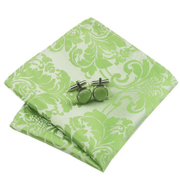 B-932 Men Tie Yellowgreen Floral Silk Tie Hanky Cufflink Gift Box Bag Set Ties For Men Wedding Busin