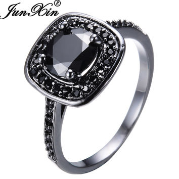 JUNXIN Vintage Geometric Style Black Zircon Rings For Women Men Black Gold Filled Wedding Party Cocktail Ring Valentine's Day