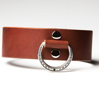 Leather Bondage Collar - Chestnut Brown Latigo - Steel Lead Ring -  Ivy Shadow Motif