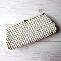 Vintage White Plastic Bubble Evening Clutch with Gold Toned Hardware and Beige Lining | Mod Style