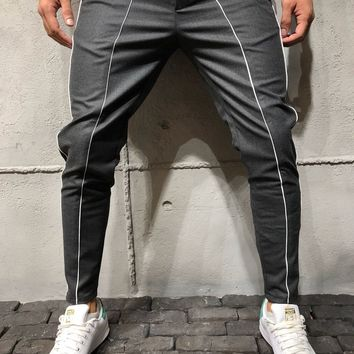 Ankle Pants Front and Side Stripes - Charcoal