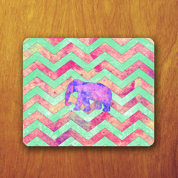 Elephant Mouse Pad Colorful Chevron Pattern Beautiful Abstract Hipster Mat Office Deco Desk Word Pad Personalized Pad Gift Personalized mat