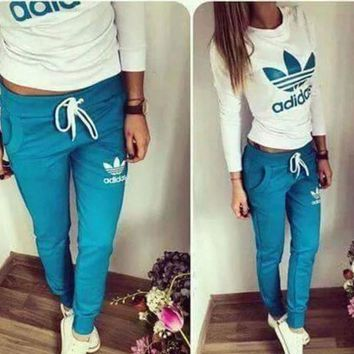 "Women Fashion ""ADIDAS"" Print Hoodie Top Sweater Pants Sweatpants Set Two-Piece Sportsw"