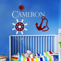Nautical Wall Decals Personalized Name Decal  Baby Boy Bedroom Room Nursery Anchor Wheel Vinyl Sticker Custom Home Decor Murals MA288