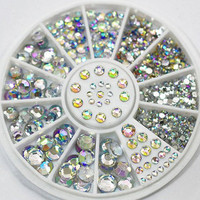Rainbow Color Various Size Rhinestones DIY Nail Art Decoration