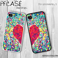 Cute heart twin case love style : Handmade Case for Iphone 4/4s , Iphone 5 Case Iphone