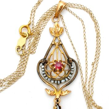 Victorian Ruby & Pearl Gold Lavalier Necklace Ostby & Barton
