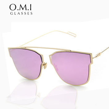 WHO Cutie CRUISE 2017 Retro Cat Eye Aviator Sunglasses Women Vintage Brand Designer Metal Minimalist frame Lunette De Soleil OM5