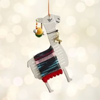 Paper Llama with Stripe Blanket Ornament