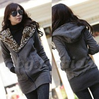 ZANZEA Women Leopard Hoodie Tops Fleece Jackets Zip Coat Sweatshirt S M L XL XXL