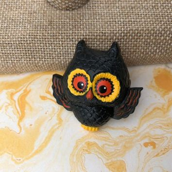 Black Lucite Owl Bird Brooch Vintage Who Hoot Owl Yellow and Orange Accents 1970s Pin