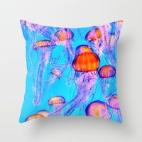 Jelly Fish Throw Pillow by The Backwater Co