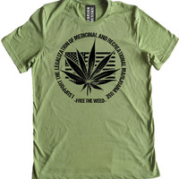 Free the Weed Legalize Marijuana Premium Dual Blend T-Shirt