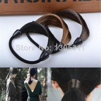 Women Straight Braid Wig Elastic Hair B  Rope Scrunchie invisible hairpiece Ponytail Hairb  Girl Hairpieces SM6
