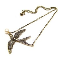 Swooping Swallow and Pearl Necklace