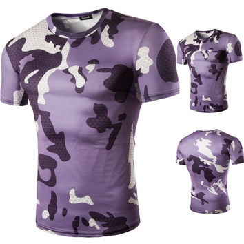 Men Print Camouflage Short Sleeve Casual T-shirts [10352114947]