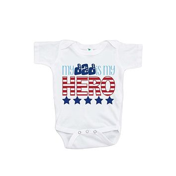 Custom Party Shop Baby's Daddy is My Hero 4th of July Onepiece