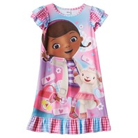 Disney's Doc McStuffins Checked Dorm Nightgown - Girls, Size: